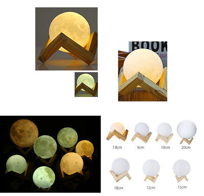 3D Printing Moon Lamp USB LED Night Lunar Light Moonlight Touch Color Changing