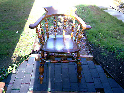 Victorian Smokers Bow Windsor Chair, Antique Captains Chair, Country Furniture
