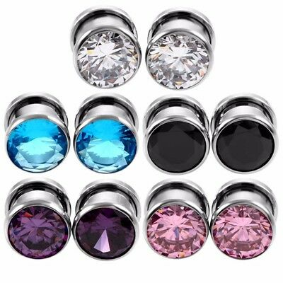 Stainless Steel Crystal Ear Plugs Tunnel Piercing Screw Fit Expander Ear A Pair