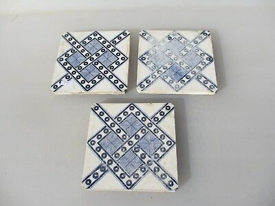 Antique Ceramic Tiles Vintage Floral Flower Victorian Floral Old Tile x3 MINTON