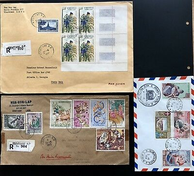 Laos Lao Indochina 3 Cover Letter Lettre France Very Fine USA