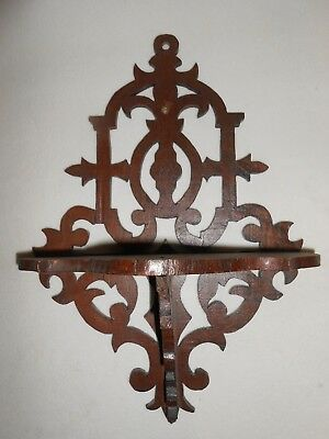 Antique Signed1880's  Wood Wall Bracket Shelf Made Of Walnut