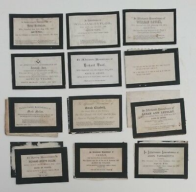 Job Lot of Antique 19th Century-Victorian Gothic Remembrance Memorial Cards