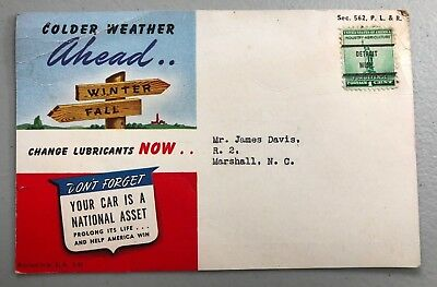 1942 Illustrated Advertising Postcard Texaco with Detroit Michigan Stamp Cancel