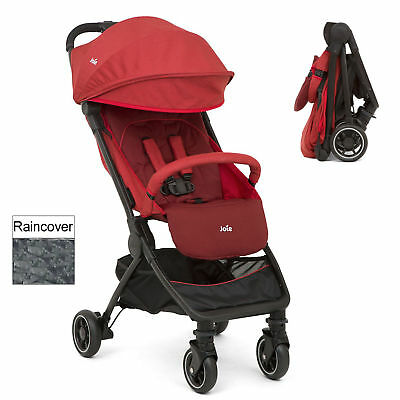 New Joie Pact Cranberry Lightweight Baby Pushchair Stroller With Raincover