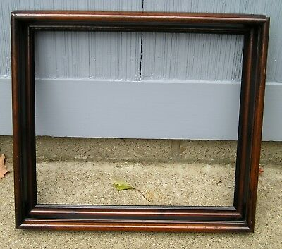 Unusual Size Antique Deep Walnut Black Victorian Picture Frame Lovely 14 x 16