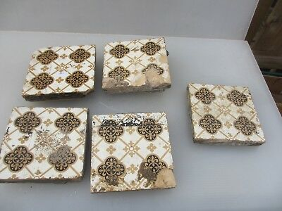 Victorian Ceramic Floor Tile Terracotta Antique 1800's Pugin Gothic Old Minton