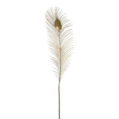 Large Glitter Peacock Feather Fern 65cm Pack of 3 Gold