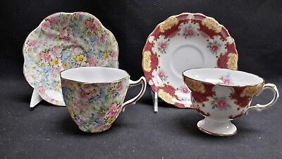 Rosina England Floral Chintz 5005 Pink Rose Red 6039 - Pair of Cups & Saucers