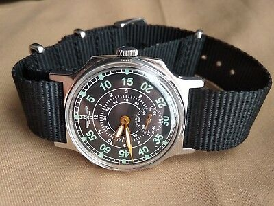 Pobeda Wrist Watch Pilot Green Sturmanskie USSR 2602 + New Nato Strap/Serviced