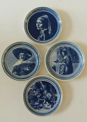 Set of 4 Butter Pats Plates Delft Old Masters Dutch Paintings 3 1/4""