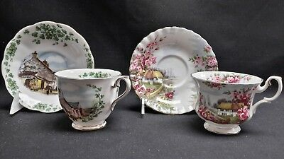 Royal Albert England Londonderry Air & Rose Cottage - Pair of Cups & Saucers