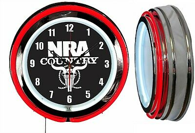 "NRA Country National Rifle Association 19"" Double Neon Clock Red Neon Chrome"