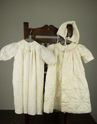 Vintage hand sewn Christening set with dress gown, coat, and hat, adorable!