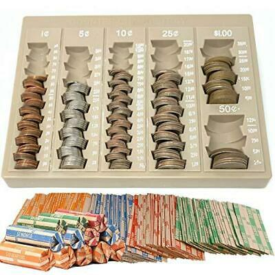 Coin Counter Sorter Money Tray -6 compartment - 64 Free Bonus Coin Roll Wrappers