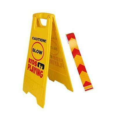 Kid Playing Caution Sign - Children Safety Slow Road - FREE Reflective Tape