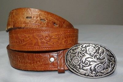 Brown Tooled Leather Leaf Scroll Belt Sz 36 w/ Buckle Western Cowboy Biker