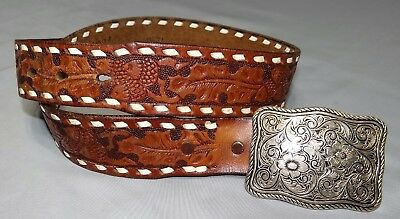 Brown Tooled Leather ACORN Belt Sz 28 w/ Buckle HP White Lacing Western Cowboy