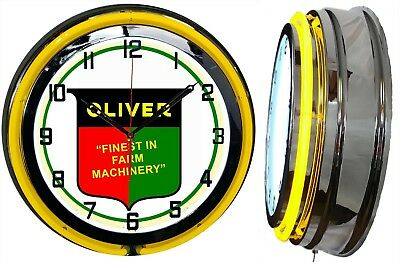 """Oliver Finest in Farm Machinery 19"""" Yellow Double Neon Clock Chrome Finish"""