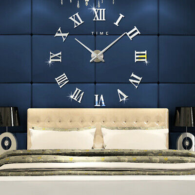 Large DIY 3D Roman Number Wall Clock Sticker Battery Powered For Home Office UK