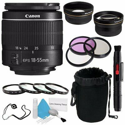 Canon EF-S 18-55mm f/3.5-5.6 III Lens (International Model) + 58mm Wide Angle...