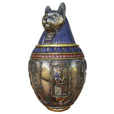 "9.5""  Egyptian Canopic Jar - Bastet Burial Urn Home Decor Statue Egypt"