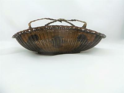 Antique Japanese Woven Copper Wire Small Basket Signed c1860s Edo / Meiji Period