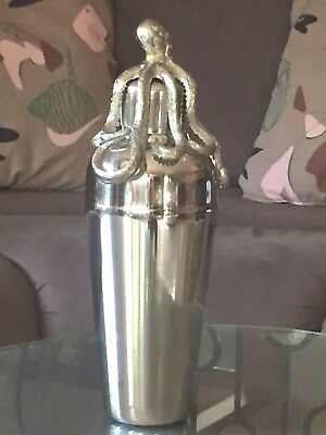 "Pier One 1 Imports 11"" Stainless Steel Nautical OCTOPUS COCKTAIL SHAKER -  NWT"