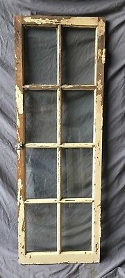 Antique Oak 8 Lite Casement Window Cabinet Old Shabby Vintage Chic 22X64 322-18C