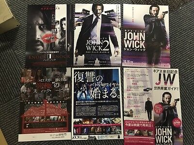 JOHN WICK 1 2 Knock Knock KEANU REEVES Japan flyer poster SET x6 Eli Roth RARE!