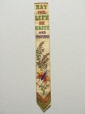 Antique embroidered silk Stevengraph bookmark signed T Stevens Thomas