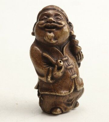 Chinese Old Bronze Hand-Carved Old Man Statue Figurine Mascot Collection