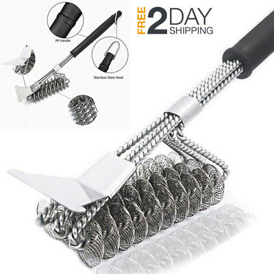 "BBQ Grill Brush Scraper Bristle Free Stainless Steel 17"" Barbecue Brush Cleaner"