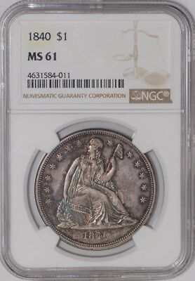 1840 Seated Liberty Dollar $ #939170-3 MS61 NGC