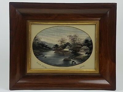 Japanese Hand Painted Silk Picture River Scene In Rose Wood Frame Stunning