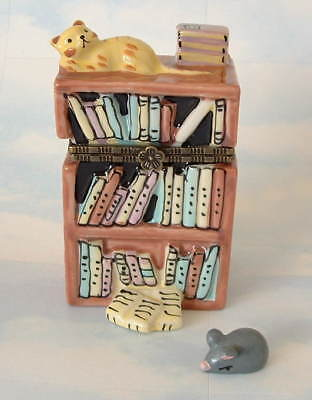 New Handpainted Library Yellow Tabby Cat Kitten & Bookcase Porcelain Hinged  Box