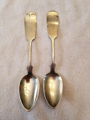 """Pair Of Coin Silver Spoons Monogrammed """"DB"""""""