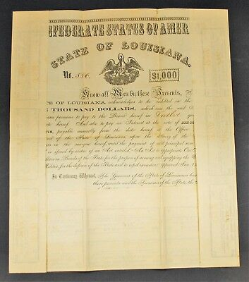Rare Fully Intact Louisiana State Bond 1862 CR62E All Coupons Civil War  Pelican