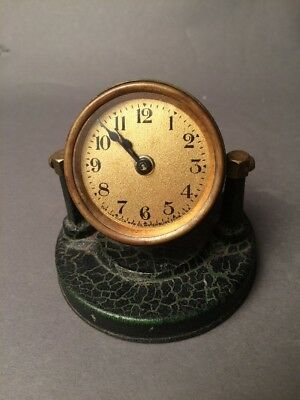 Antique Vintage The American Art Works Inc Lux Brass Desk Clock