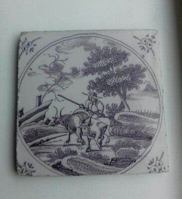 Antique Manganese Delft Tile Possible 1750 'S