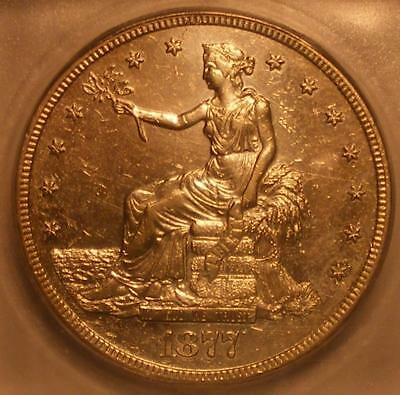 Attractive 1877 S Trade Dollar ICG AU 55 Details; Whizzed; Corroded