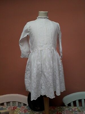 Antique Girls Dress Hand Embroidery Cotton Lawn Batiste Edwardian 1910 Whitework