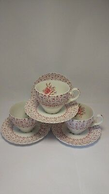 Set of THREE Johnson Brothers ENGLAND Rose Bouquet Cups & Saucers