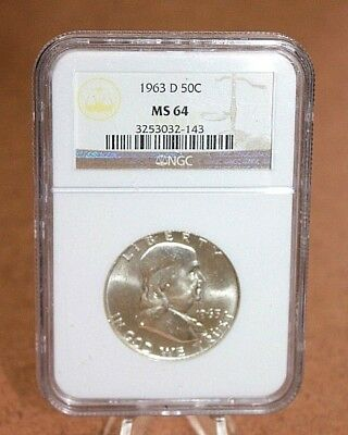 1963 D Franklin Half Dollar 50C Graded NGC MS64 [11WEI]