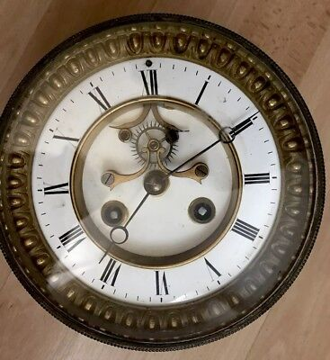 Vintage French Clock Movement With Key And Pendulum For Parts