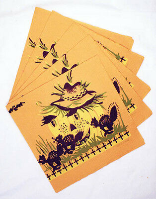 """1940s Set of Five Crepe Paper Halloween Napkins Mint 13 1/4"""" x 13"""" Made in USA"""