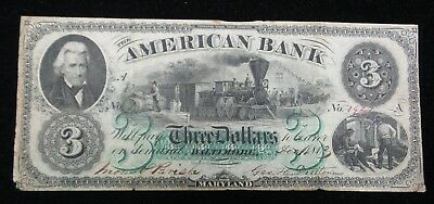 1863 $3 The American Bank - Baltimore, MARYLAND Obsolete Note CIVIL WAR Era RARE