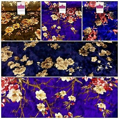 "Vintage Floral Velvet Velour Stretch Printed dress fabric 55"" Wide M991 Mtex"