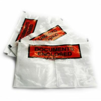 """1000 Printed Document Enclosed Wallets Size A4 9x12.5"""" Plastic Envelopes FREE"""