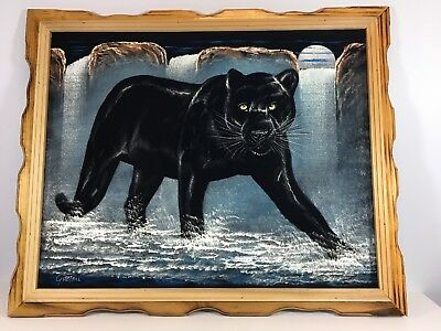 Velvet Painting Black Panther Waterfall Mountain Moon Mexico Signed Framed